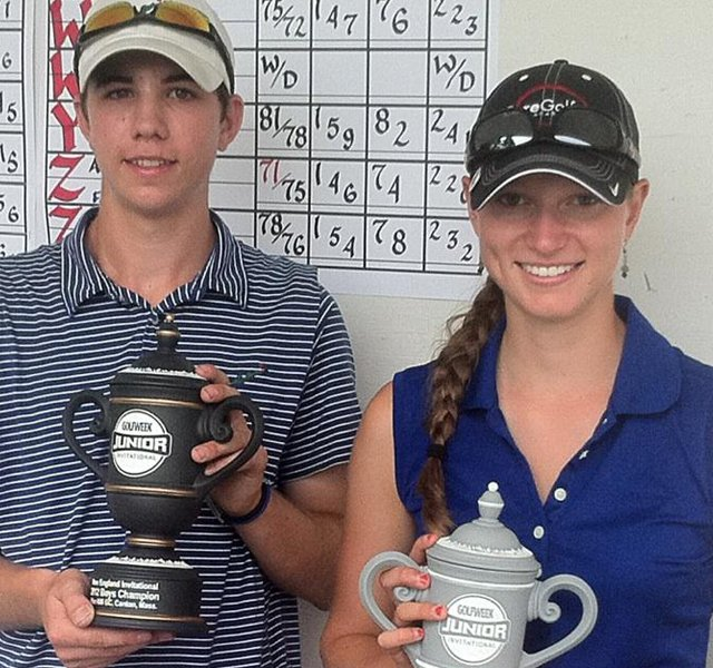 Patrick Albanesi, left, and Isabel Southard won their respective divisions at the Golfweek New England Junior on Tuesday at Blue Hill Country Club.