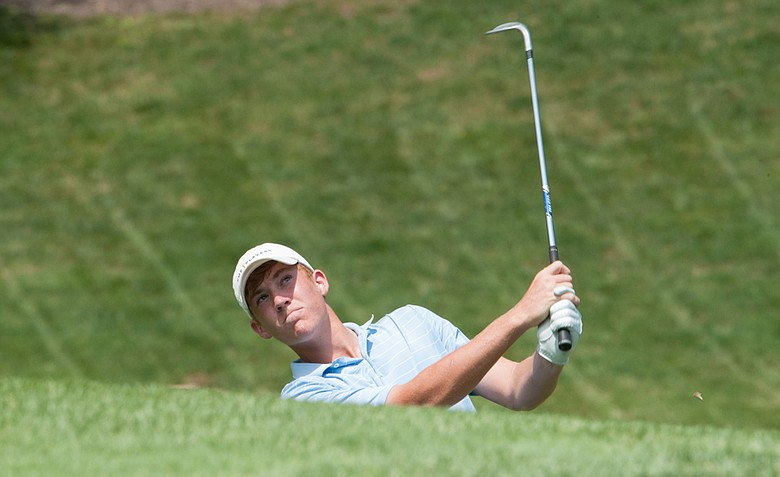 Robby Shelton watches a shot on the 17th hole during the third round of the 37th Junior PGA Championship at Sycamore Hills Golf Club in Fort Wayne, Indiana on Thursday, August 02, 2012.