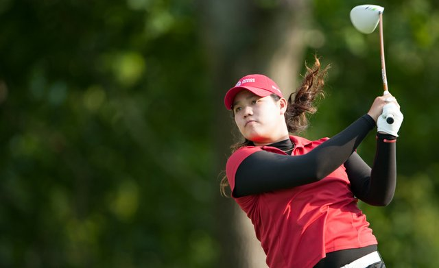 Ariya Jutanugarn hits a tee shot on the 18th hole during the third round of the 37th Junior PGA Championship at Sycamore Hills Golf Club in Fort Wayne, Indiana on Thursday, August 02, 2012.