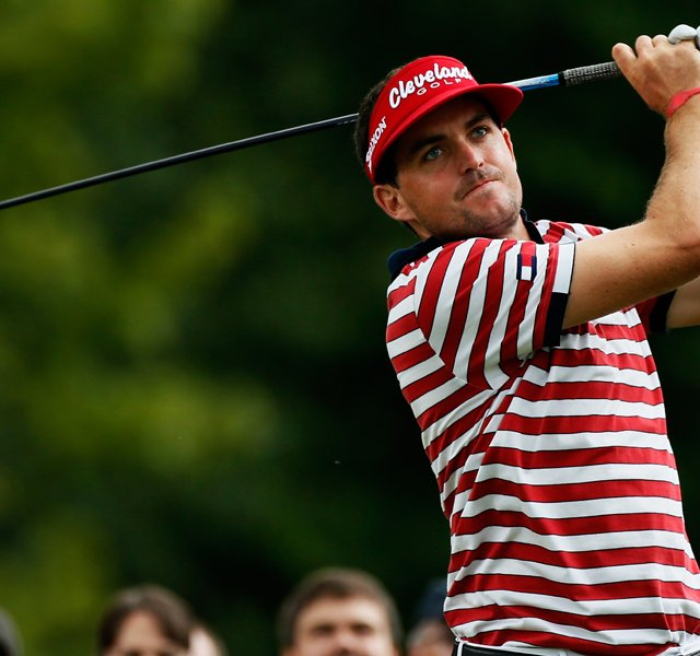 Keegan Bradley plays his shot from the eighth tee during the final round of the WGC-Bridgestone Invitational at Firestone Country Club.