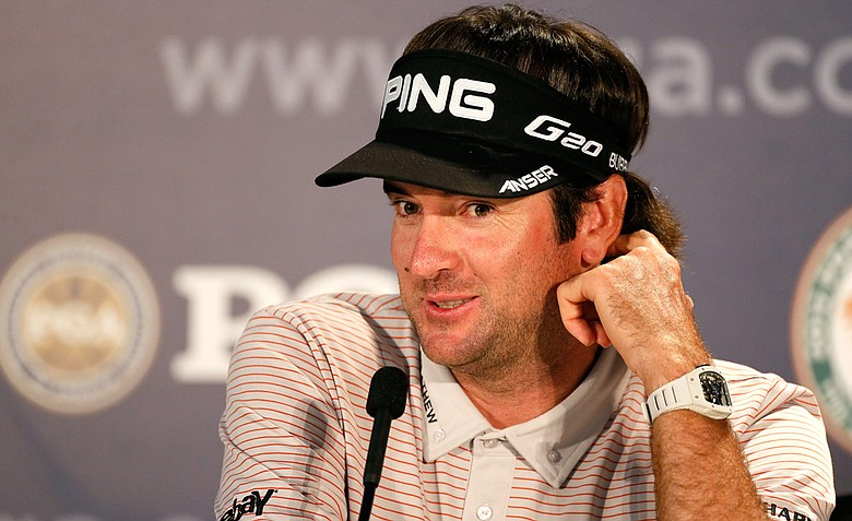 Bubba Watson speaks during a press conference during a practice round of the 94th PGA Championship.