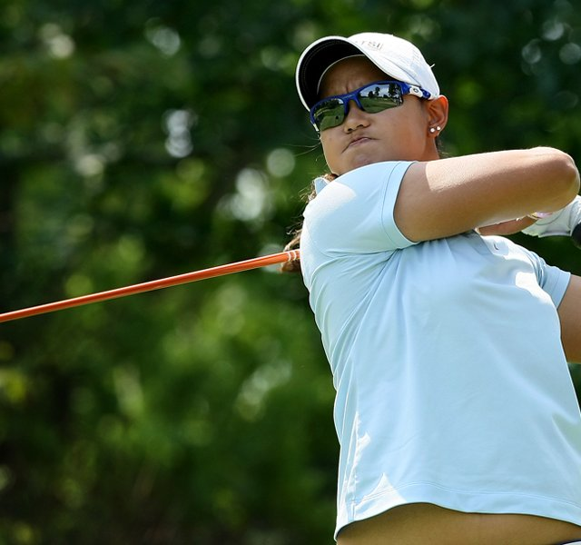 Cyna Rodriguez hits her tee shot at No. 13 during the Round of 64 at the 112th U. S. Women&#39;s Amateur Championship. She advanced to the Round of 32.