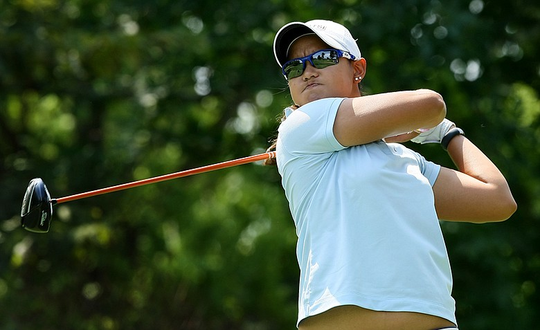 Cyna Rodriguez hits her tee shot at No. 13 during the Round of 64 at the 112th U. S. Women's Amateur Championship. She advanced to the Round of 32.