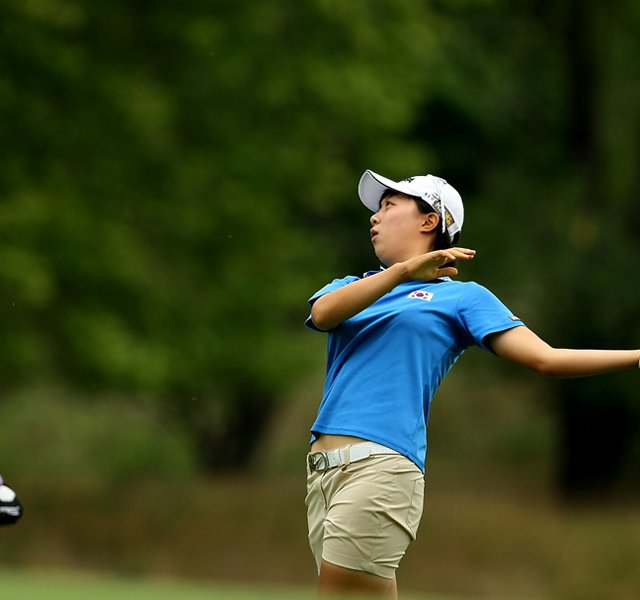 Hyo-Joo Kim defeated Isabelle Lendl, 2&amp;1, during the Round of 32 at the 112th U. S. Women&#39;s Amateur Championship.