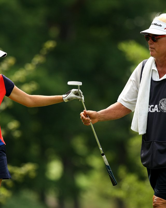 Jaye Marie Green with her dad/caddie Donnie during the Round of 16 at the 112th U. S. Women&#39;s Amateur Championship. Green defeated Lisa McCloskey to advance to Round of 16.