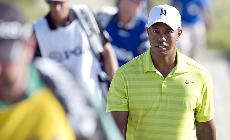 Tiger Woods of the US walks a fairway during round one of the 94th PGA Championship August 9, 2012 on Kiawah Island, South Carolina.