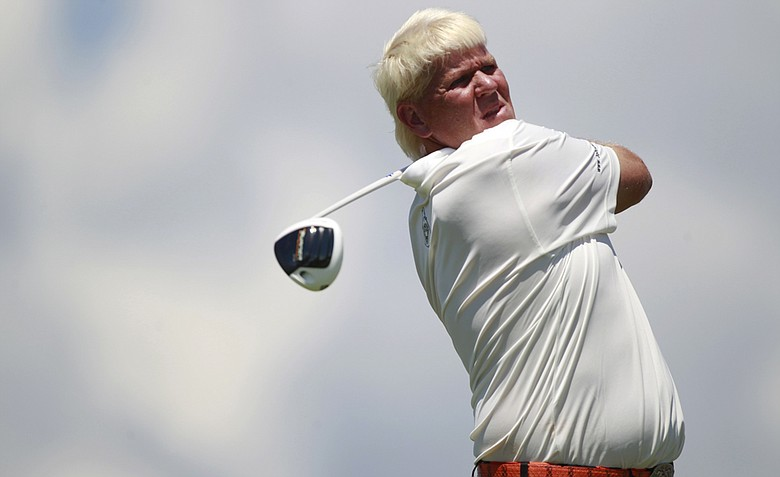 John Daly watches his drive on the 15th hole during the first round for the PGA Championship golf tournament on the Ocean Course of the Kiawah Island Golf Resort in Kiawah Island, S.C., Thursday, Aug. 9, 2012.