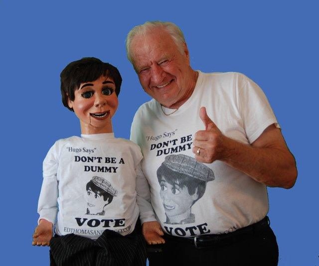 Comedian/ventriloquist Ed Thomas of Altamonte Springs and his dummy partner, Hugo, are performing shows with the message to get out and vote.