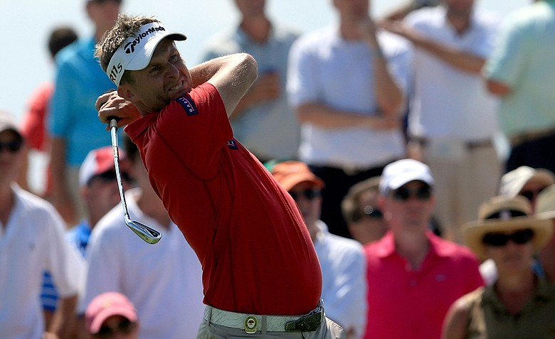 David Lynn hits off the 17th tee during the third round of the 94th PGA Championship at the Ocean Course.
