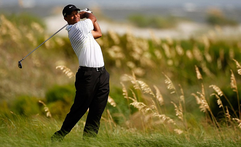 Tiger Woods hits off the sixth tee during the third round of the 94th PGA Championship at the Ocean Course.