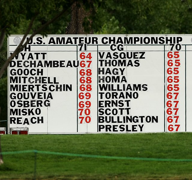 A manual leaderboard during the 112th U. S. Amateur Championship at Cherry Hills Country Club in Colorado. Bobby Wyatt posted a first round 64.