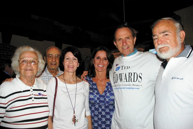 Ted Edwards celebrates nabbing a third term as Orange County District 5 commissioner on Aug. 14 at the Park Plaza Gardens.