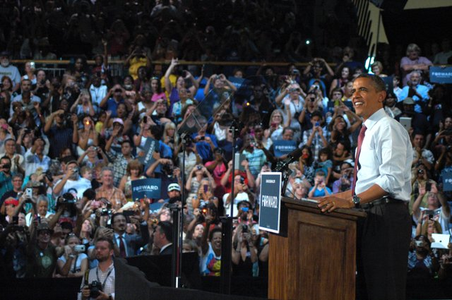 President Barack Obama greets the crowd at Rollins College Aug. 2.