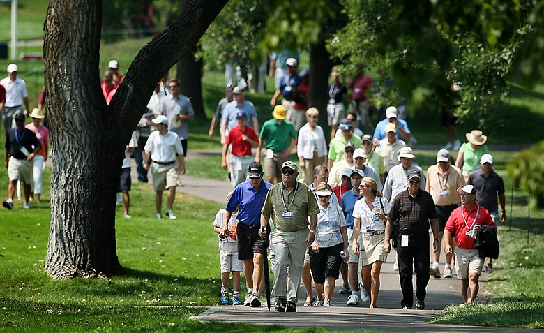 Jack Nicklaus walks up the 18th fairway during the 112th U. S. Amateur Championship at Cherry Hills Country Club in Colorado.