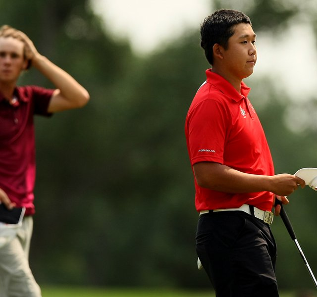 Albin Choi defeated Thomas Pieters during the Round of 32 at the 112th U. S. Amateur Championship at Cherry Hills Country Club.