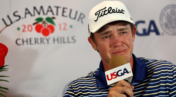 Michael Weaver addresses the media after advancing to the final at the U.S. Am.