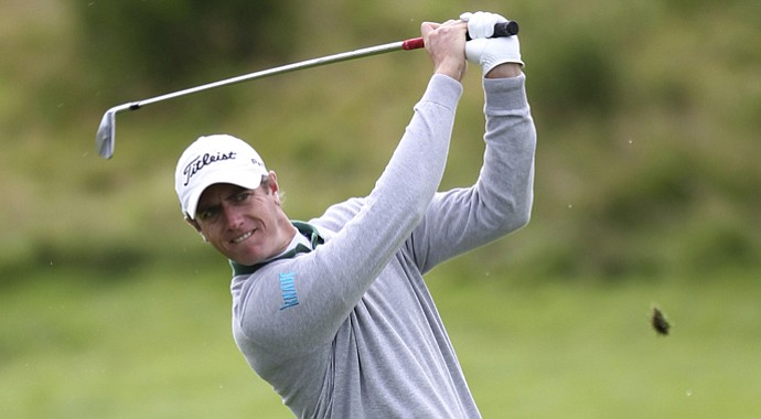 Nicolas Colsaerts plays from a fairway during the first round during day one of the 2012 Johnnie Walker Championship at Gleneagles Golf Course, Gleneagles Scotland Thursday Aug. 23, 2012.