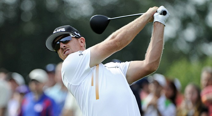 Hunter Mahan tees off on the first hole during the second round of The Barclays at Bethpage Black Course on August 24, 2012 in Farmingdale, New York.