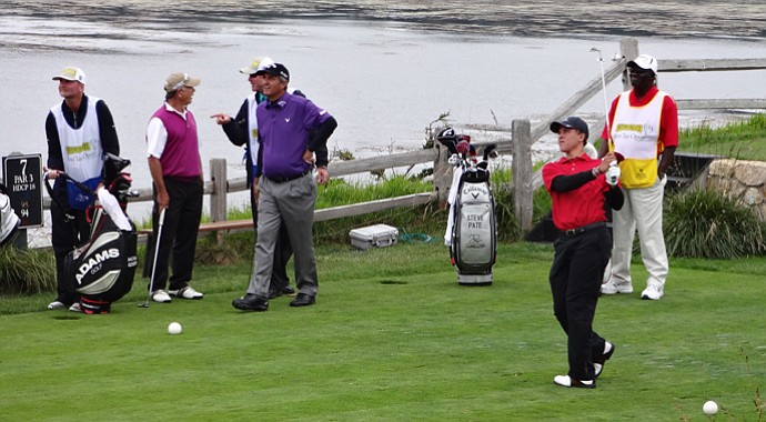 Cameron Champ hits a shot on the par-3 seventh at Pebble Beach during the 2012 First Tee Open.