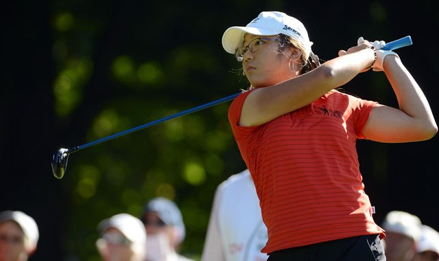 Lydia Ko hits a tee shot on the second hole during the final round of the Canadian Women&#39;s Open.