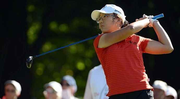 Lydia Ko hits a tee shot on the second hole during the final round of the Canadian Women's Open.