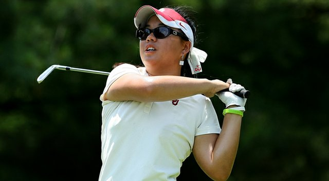 Oklahoma's Chirapat Jao-Javanil watches her tee shot at No. 16 on Thursday at the 2012 NCAA Division I Women's Golf Championships at Vanderbilt Legends Club. She posted a 70 in Round 3.