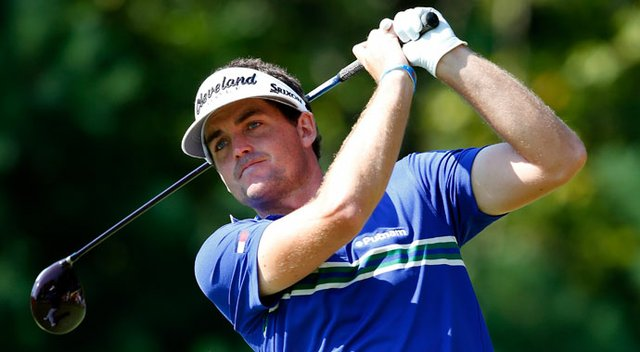 Keegan Bradley tees off on the 18th hole during the second round of the Deutsche Bank Championship at TPC Boston.