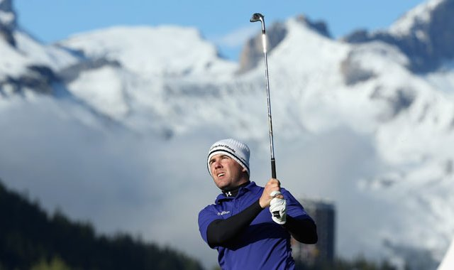 Richie Ramsay of Scotland plays into the 17th green during the third round of the Omega European Masters at Crans-sur-Sierre Golf Club.