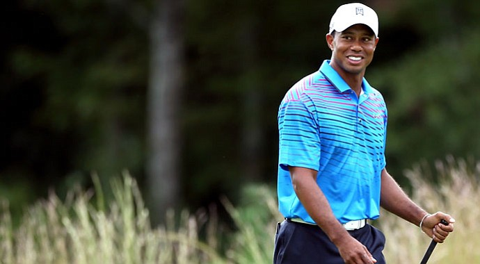 Tiger Woods reacts during the second round of the Deutsche Bank Championship at TPC Boston.