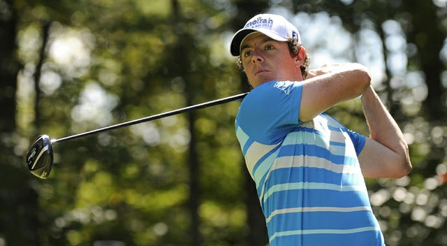 Rory McIlroy hits a drive on the second hole during the final round of the Deutsche Bank Championship at TPC Boston.