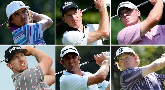 Clockwise from top left: Rickie Fowler, Jim Furyk, Steve Stricker, Brandt Snedeker, Dustin Johnson and Hunter Mahan.