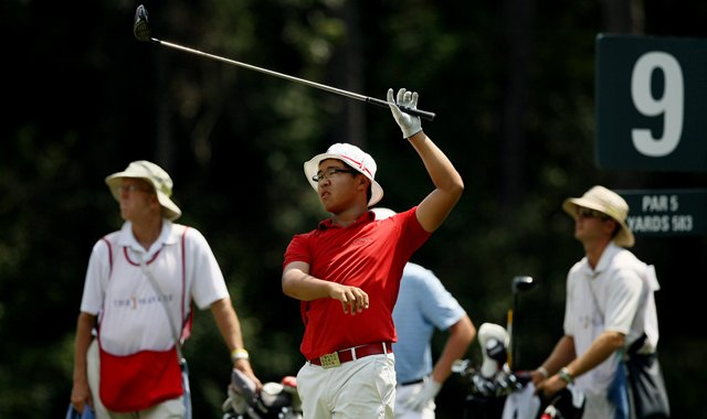 Jim Liu lets go of his club as he watches his tee shot at No. 9 during the final round of the TPC Junior Players at TPC Sawgrass The Players Stadium.