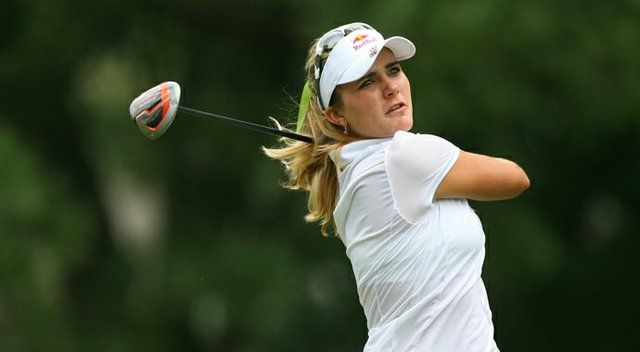 Lexi Thompson hits her tee shot on the ninth hole during the first round of the Kingsmill Championship.