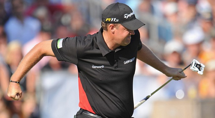 Peter Hanson celebrates making his eagle putt on the 18th hole during the final round of the KLM Open.