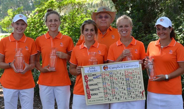 The Campbell women&#39;s golf team after winning the 2012 Golfweek Program Challenge.