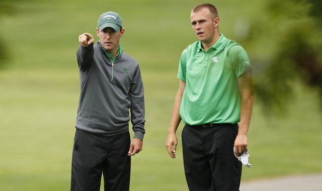 Michigan State head coach Casey Lubahn, left, and the Spartans will play 108 competitive holes over four days.