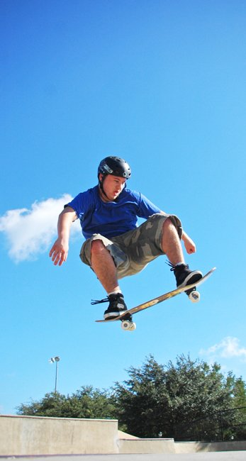 D.J. Gravois warms up at Oviedo's Rippin' Riverside Skate Park.