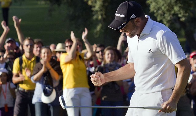 Sergio Garcia celebrates during the 2011 Andalucia Masters.
