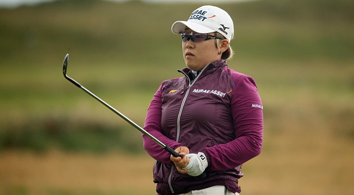 Jiyai Shin in action during the third round of the Ricoh Women's British Open at Royal Liverpool Golf Club.