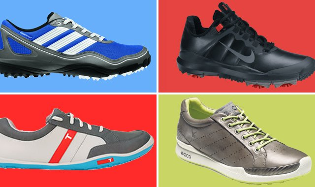 """Natural-motion"" footwear transformed the running-shoe market. It could have a major impact in golf, too. Some examples (clockwise, from top left): Adidas Puremotion, Nike TW '13, Ecco Biom Hybrid and True Phx."