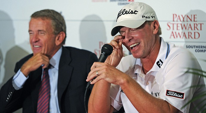 Commissioner Tim Finchem announces Steve Stricker as the recipient of the 2012 Payne Stewart Award at the Tour Championship in Atlanta, Georgia.