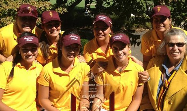 The Arizona State women with Dale McNamara (far right) after winning the tournament named in her honor.