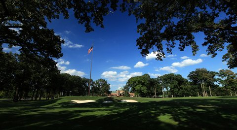 A view of the green on the 449 yards par-4 18th hole with the clubhouse behind on the No. 3 Course, the venue for the 2012 Ryder Cup at Medinah Country Club.
