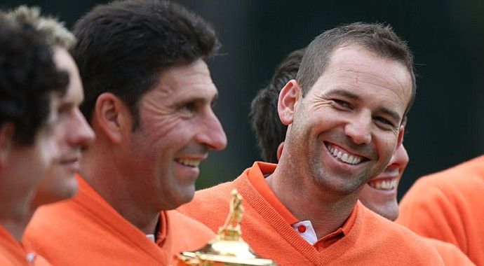 Sergio Garcia during the second preview day of the 2012 Ryder Cup at Medinah Country Club.