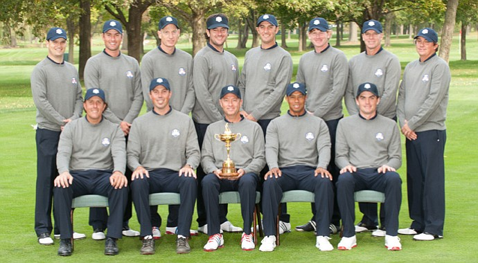The 2012 U.S. Ryder Cup squad at Medinah Country Club.