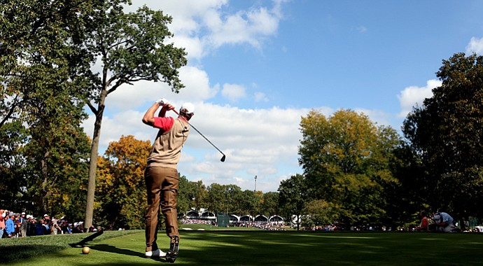 Nicolas Colsaerts plays at Medinah Country Club, just one of the many highlights to golf around Chicago.