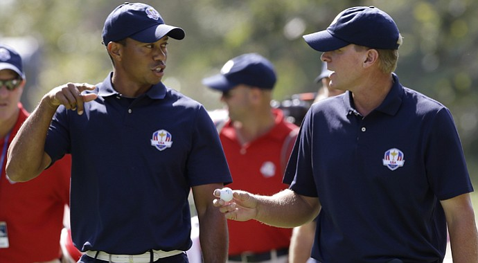 Tiger Woods and Steve Stricker during the 2012 Ryder Cup preview day on Wednesday.