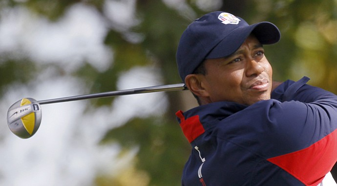 USA's Tiger Woods hits a drive during a practice round at the Ryder Cup Thursday, Sept. 27, 2012, at the Medinah Country Club in Medinah, Ill.