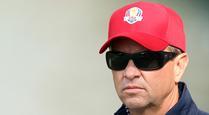 USA captain Davis Love III watches Friday's Ryder Cup action.