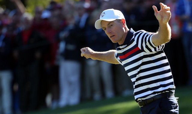 Jim Furyk was 1 up heading to the 17th tee and lost his match 1 up after a missed putt on the 18th against Sergio Garcia.